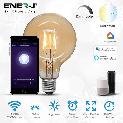 Ener-J smart WiFi LED filament Globe 8.5W dimmable & CCT changeabl