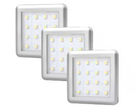 3 pack - Square 1.5W under cabinet light including driver & connector