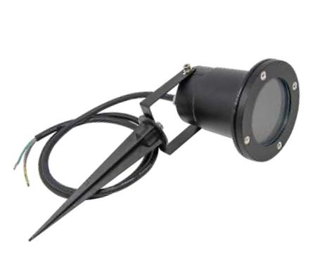 TimeLED black IP65 GU10 garden spike spotlight