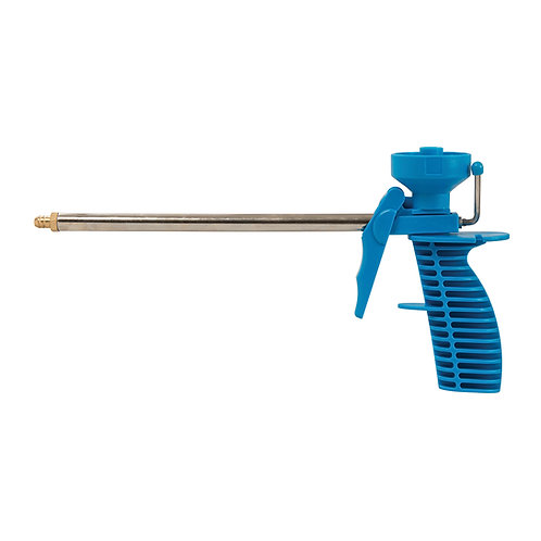 Silverline PU Foam Applicator Gun with plastic body, stainless steel barrel and brass nozzle - side view