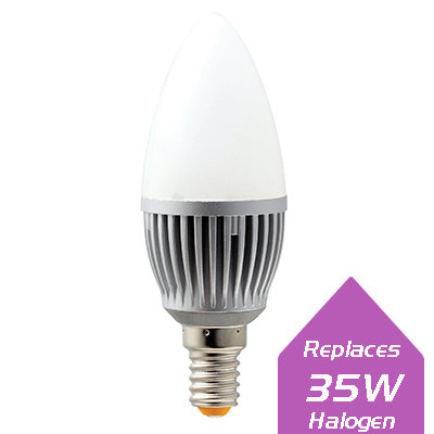 Lumanor 4.5W LED candle bulb with E14 base and frosted lens in 3000K or 4500K offers high lumens and smooth dimming.
