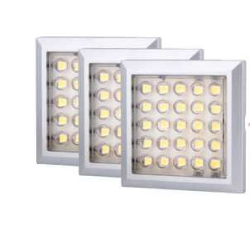 3 pack - Square 2W under cabinet light including driver & connectors