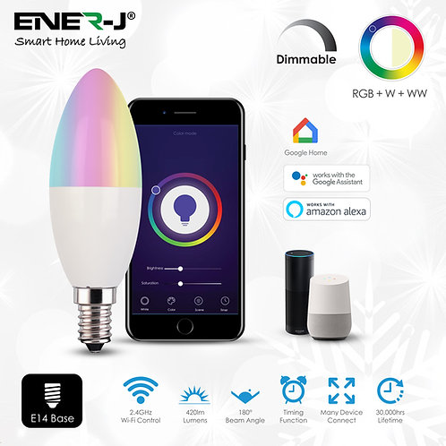 Ener-J Smart Wifi control 4.5W LED candle bulb offers app and voice control via Alexa or Google Home. Over 16 million colours
