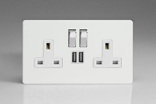 Varilight 2-Gang 13A Single Pole Switched Socket + 2 x USB Charging ports