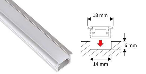 Lumanor recessed Aluminium profile 1m length with opal diffuser is ideal for use with LED strip lights.