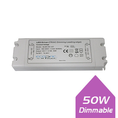 Ecopac 50W 12V IP20 Dimmable LED Driver