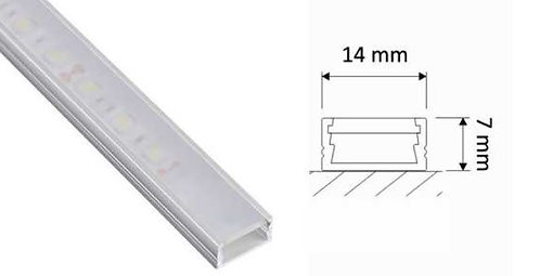 Lumanor surface mounted Aluminium profile 1m length with opal diffuser is ideal for use with LED strip lights.
