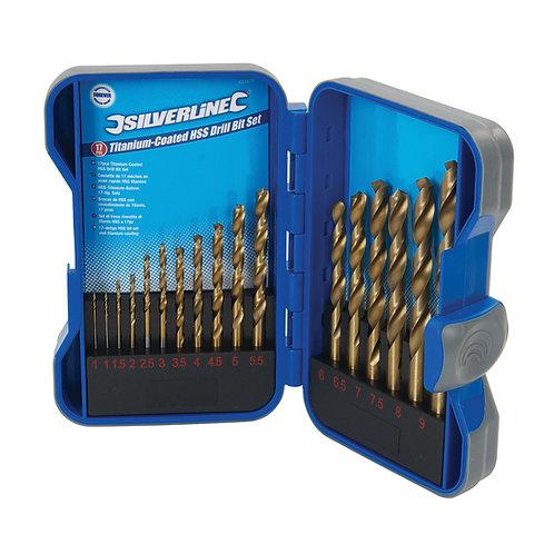 Silverline Titanium-Coated HSS Drill Bit Set 17pce
