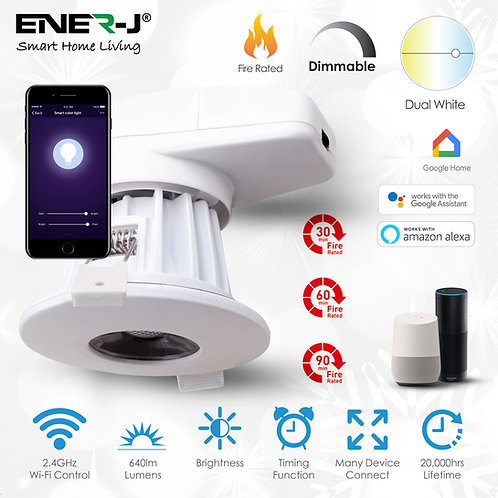 Ener-J 8W smart fire-rated downlight CCT & dimming