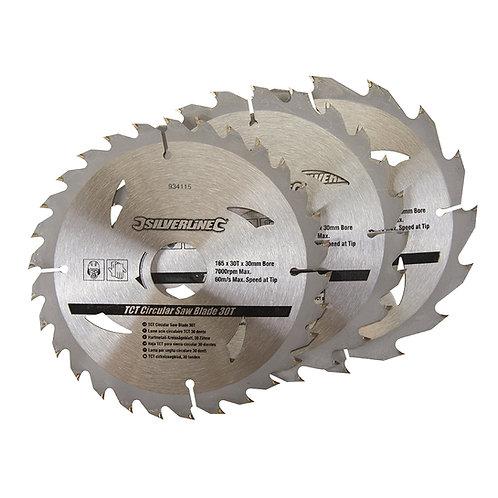 Silverline TCT Circular Saw Blades 16, 24, 30T 3pk