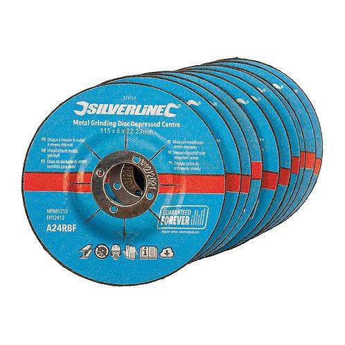 Silverline Metal Grinding Discs Depressed Centre 10pk