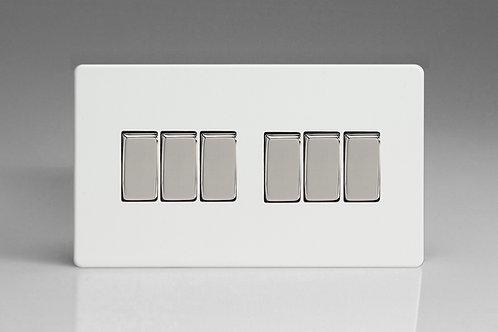 Varilight 6-Gang 10A 1- or 2-Way Rocker Switch (Twin Plate)