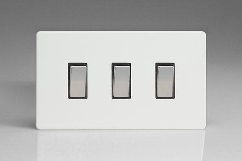 Varilight 3-Gang 10A 1- or 2-Way Rocker Switch (Twin Plate)