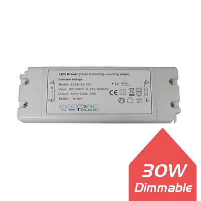 Ecopac 30W 12V IP20 Dimmable LED Driver