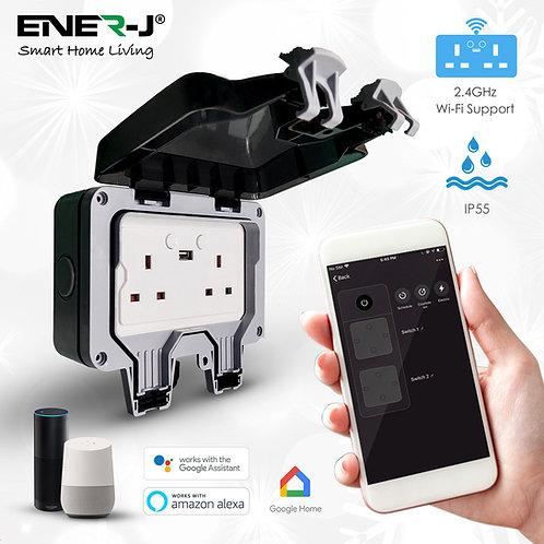 Ener-J Smart WiFi IP65 weatherproof double socket with USB