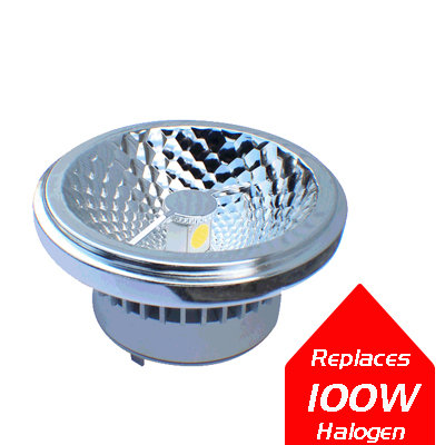 Lumanor LED COB AR111 18W front face. Ideal AR111 LED light replacement with ultra high output and smooth dimming
