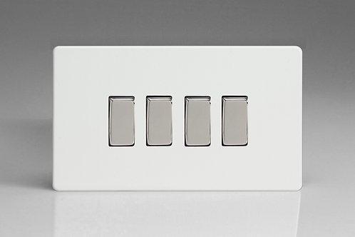 Varilight 4-Gang 10A 1- or 2-Way Rocker Switch (Twin Plate)