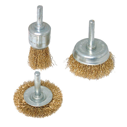 Silverline Brassed Steel Wire Wheel & Cup Brush Set 3pce