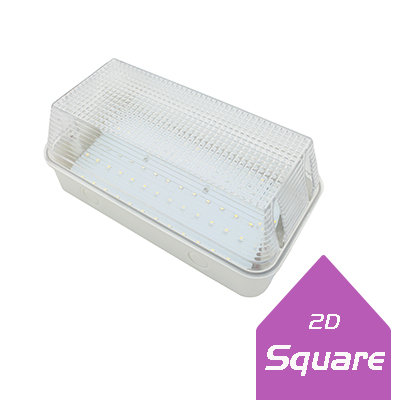 Lumanor 8W square LED bulkhead lights with high lumen output, IP65 rating, long life LED driver and prismatic diffuser.