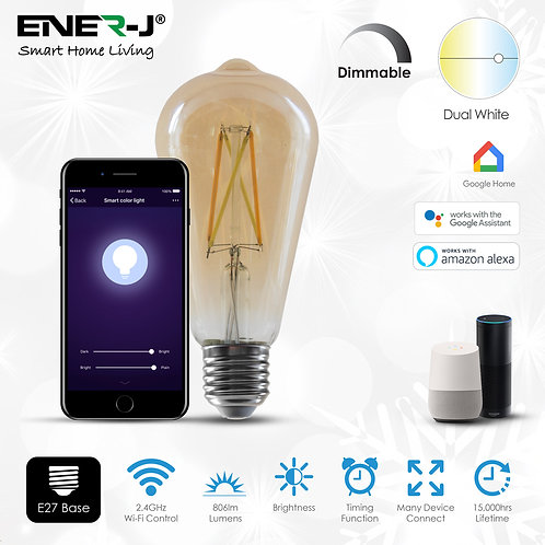 Ener-J smart WiFi LED filament ST64 8.5W dimmable & CCT changea