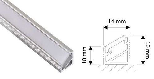 Lumanor corner mounted Aluminium profile 1m length with opal diffuser is ideal for use with LED strip lights.