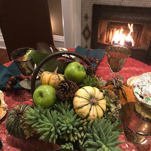 A small Thanksgiving by the fire