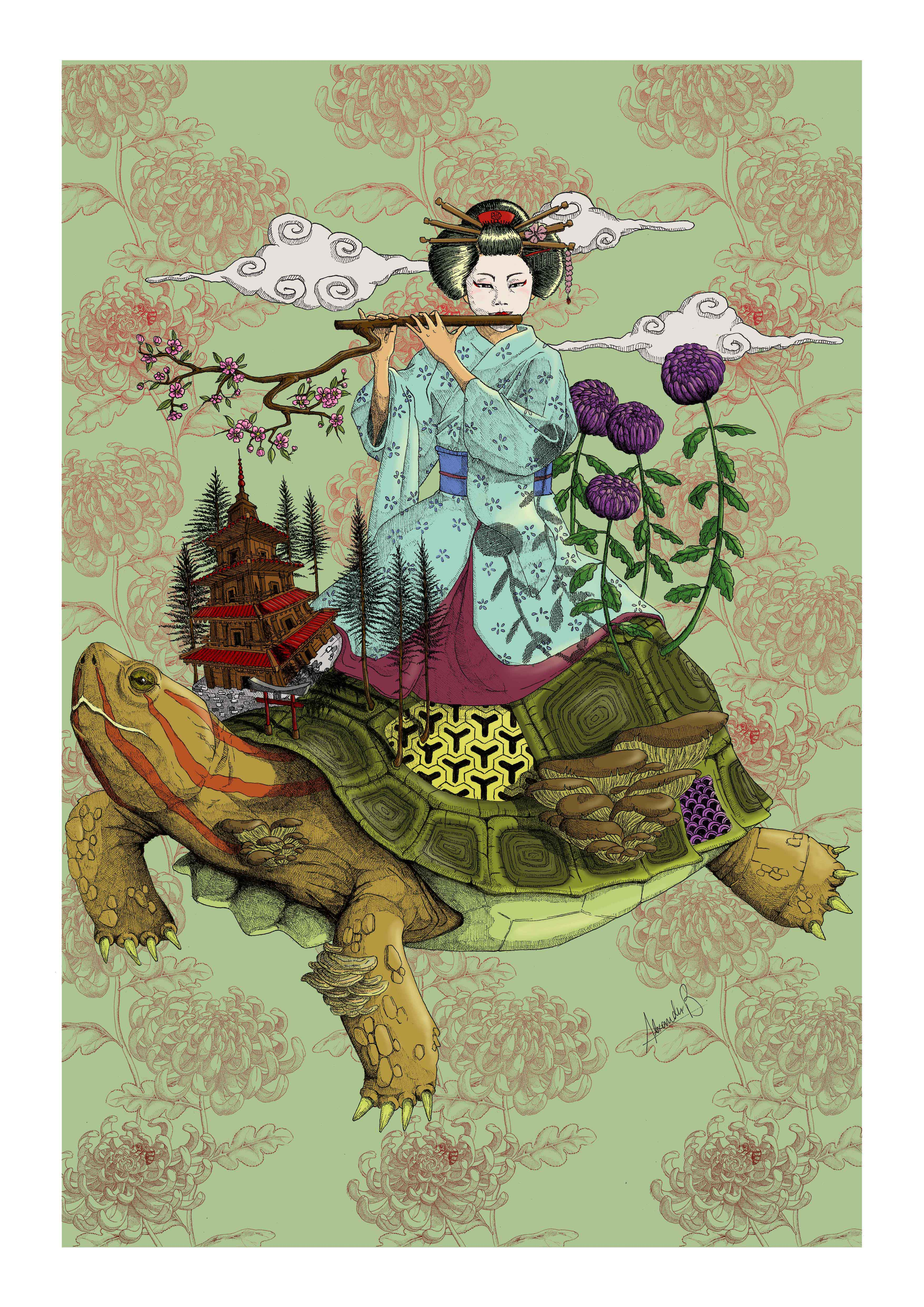 ink_japanese_turtle_flute (color)