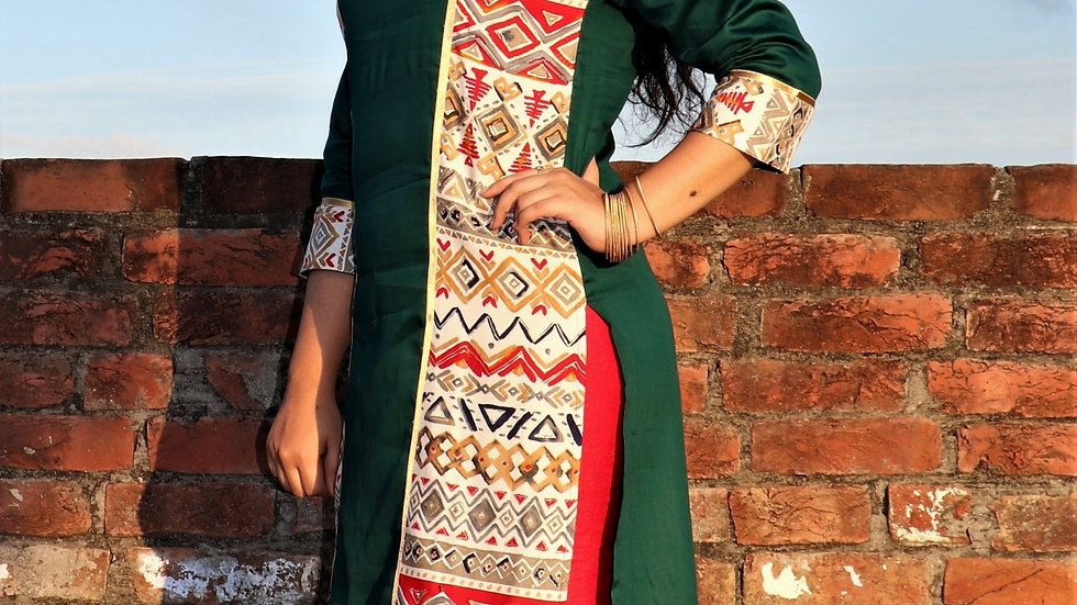 PINE GREEN STRAIGHT FIT KURTI