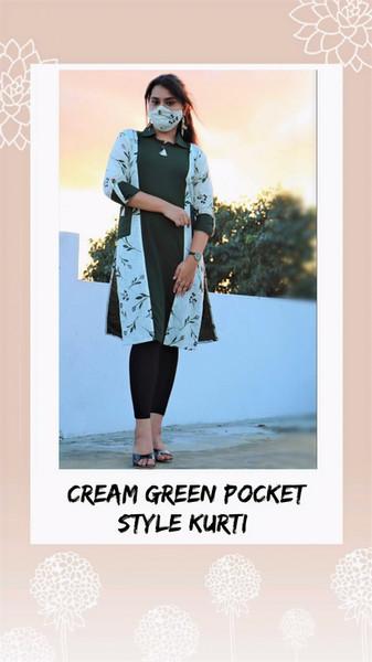 CREAM GREEN POCKET STYLE KURTI