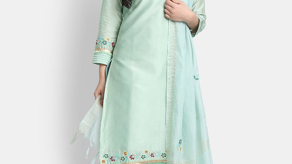 Grape Green Hand Embroidered Chanderi Suit Set
