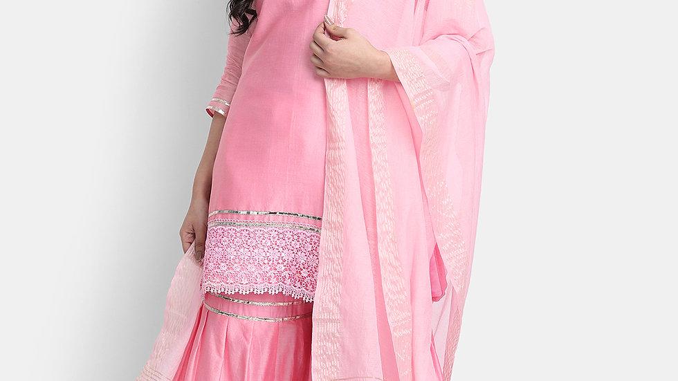 Blush Pink Embroidered Chanderi Sharara Set