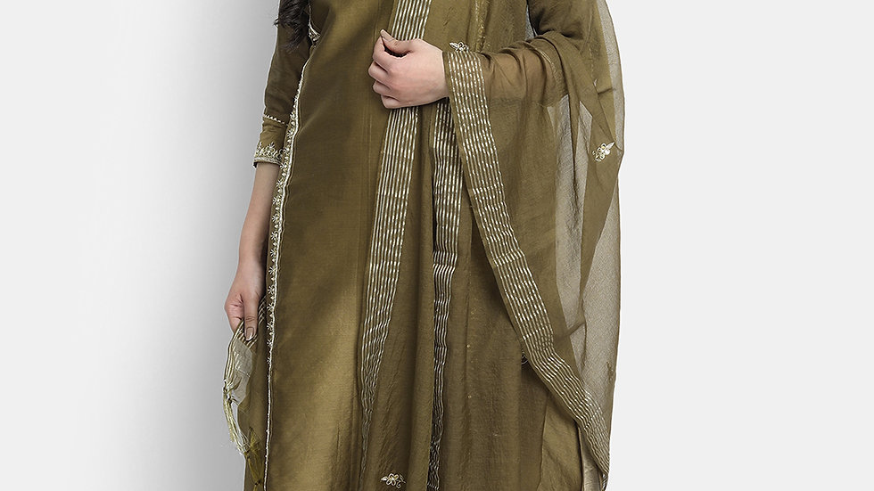 Olive Hand embroidered Chanderi Suit Set