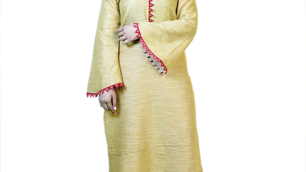 BEIGE BELL SLEEVES WINTER KURTA