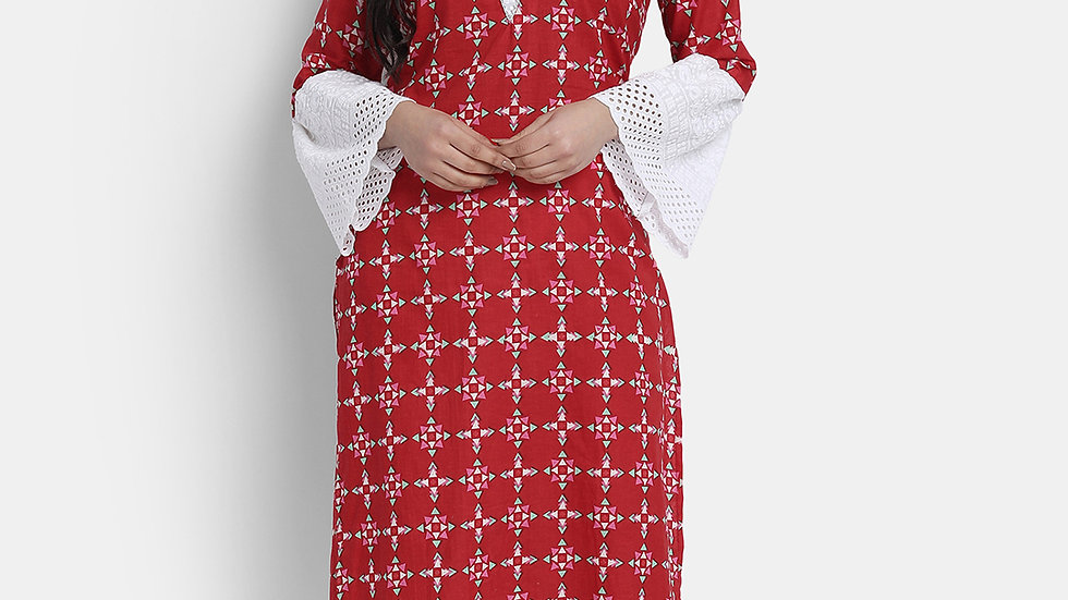 CHERRY RED AND WHITE COTTON SUIT SET