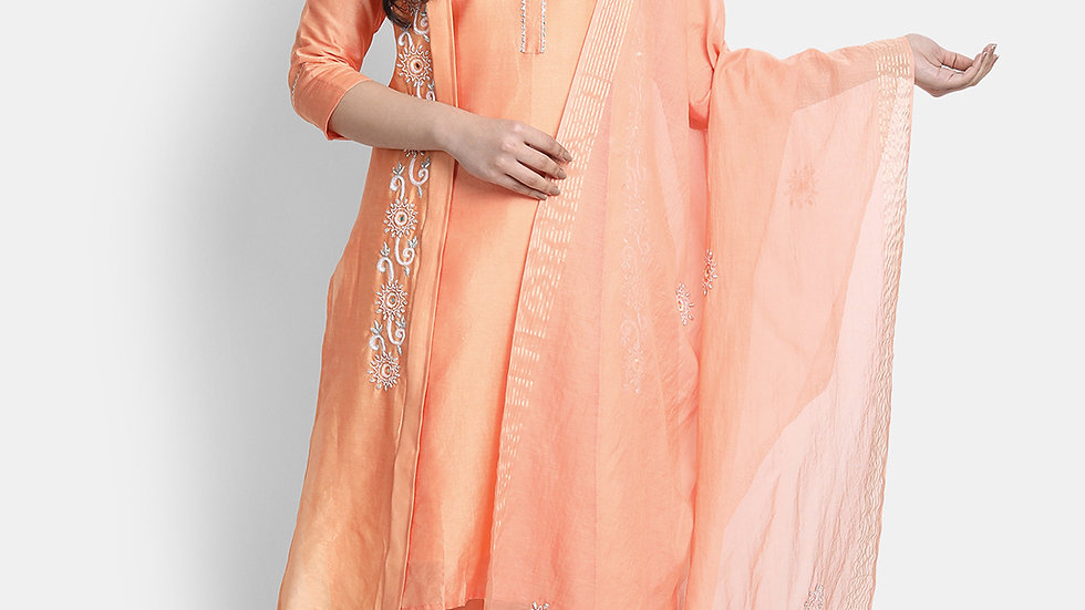 Peachy Orange Hand Embroidered Chanderi Silk Suit Set