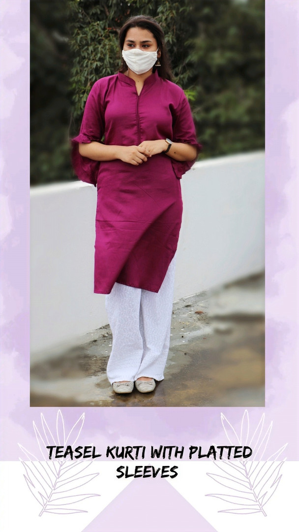 TEASEL KURTI WITH PLATTED SLEEVES
