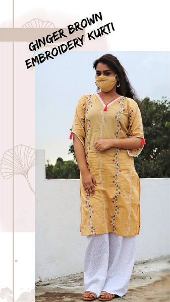 GINGER BROWN EMBROIDERY KURTI