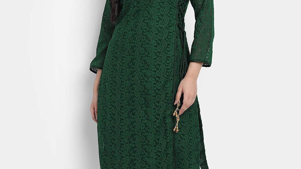 WOMEN'S DARK GREEN CHIKANKAARI KURTA SET