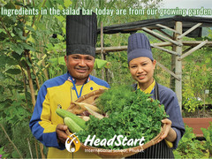 Headstart International School is using harvest from their food garden for the student salad bar!