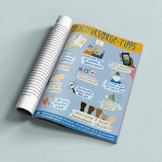 Illustrierte Selbstfürsorge-Tipps