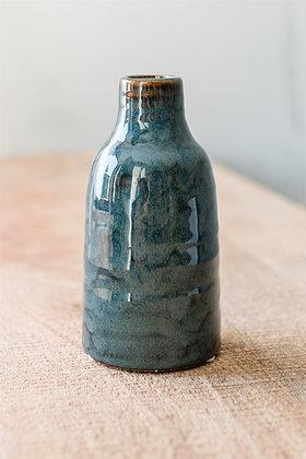 Vase - Steingut blau-grün