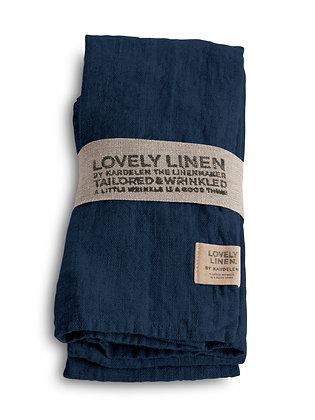 LOVELY LINEN Leinenserviette - Lovely Midnight Blue - 4er Set