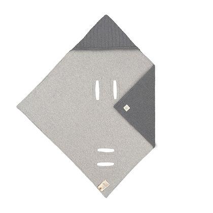 LÄSSIG Babystrickdecke für Babyschale anthrazit - 78 x 78cm