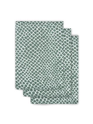 Mull Waschlappen Snake ash green - 3er Set