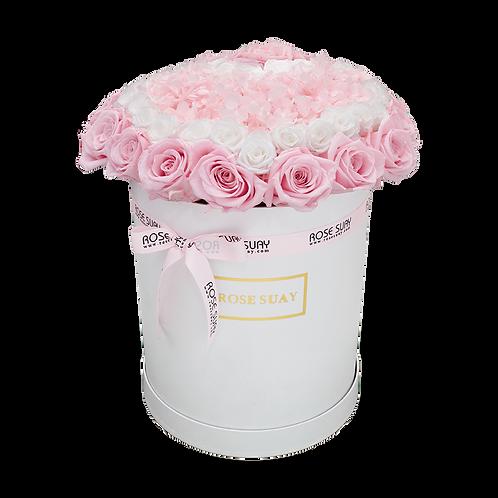 white and soft pink eternity flowers - midi white round box