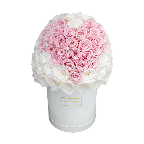 white and soft pink eternity flowers - large white round box