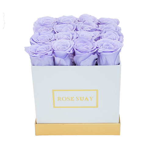 lilac eternity roses - medium white square box