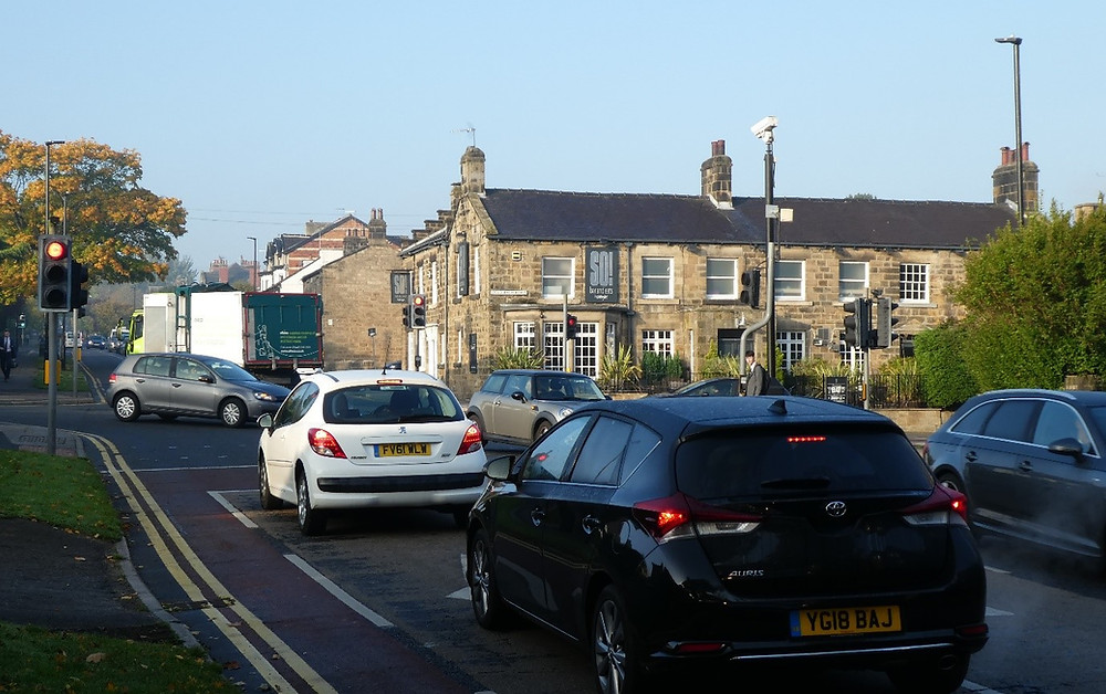 Traffic at crossroads of Cold Bath Road and Otley Road.