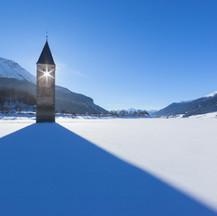 Turm im See in Graun i.Vinschgau