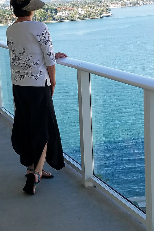 black linen beach pants with yoga waist